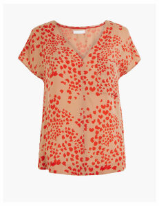 Per Una Cupro V-Neck Heart Print Shell Top