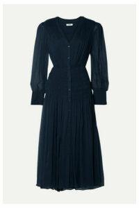 Jason Wu - Shirred Crinkled Silk-chiffon Midi Dress - Midnight blue