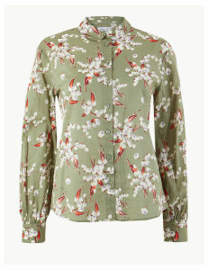 Per Una Floral Peplum Back Long Sleeve Shirt