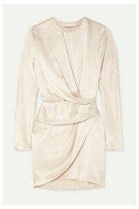 Michelle Mason - Origami Draped Silk-charmeuse Mini Dress - Platinum