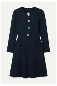 Lela Rose - Embellished Wool-blend Crepe Dress - Midnight blue