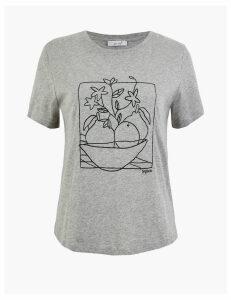 Per Una Pure Cotton Embroidered T-Shirt