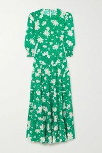 REJINA PYO - Milena Color-block Draped Hammered Silk-satin Midi Dress - Peach