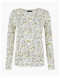 M&S Collection Pure Cotton Raglan Print Regular Fit T-Shirt