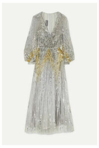 Monique Lhuillier - Sequined Tulle Gown - Silver
