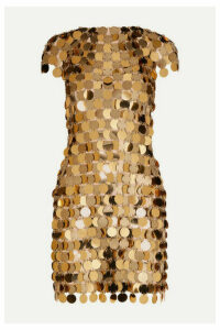Paco Rabanne - Embellished Metallic Mini Dress - Gold