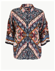 M&S Collection Oversized Floral Print 3/4 Sleeve Shirt
