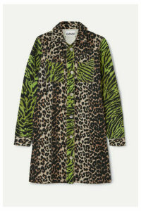 GANNI - Paneled Animal-print Denim Mini Dress - Leopard print