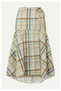 GANNI - Tiered Checked Cotton-poplin Wrap Skirt - Light blue