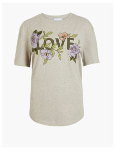 Per Una Embroidered Love Graphic T-Shirt