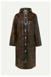 GANNI - Tiger-print Matte-tpu Raincoat - Brown