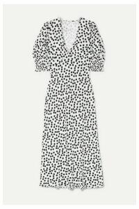 RIXO - Zadie Polka-dot Crepe Midi Dress - White
