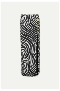 Versace - Embellished Zebra-print Satin Maxi Skirt - Black