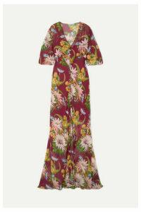 Olivia von Halle - Delphine Floral-print Silk-georgette Maxi Dress - Claret
