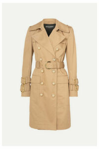 Balmain - Button-embellished Cotton-twill Trench Coat - Beige