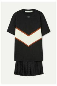 Off-White - Panelled Cotton-jersey And Satin Mini Dress - Black