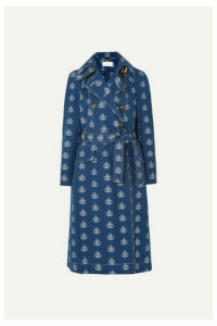 Chloé - Belted Cotton-jacquard Trench Coat - Dark denim