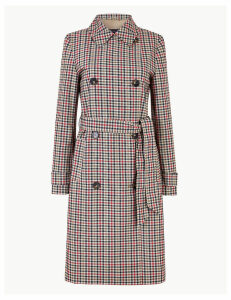 M&S Collection Checked Double Breasted Trench Coat