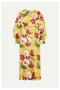 Olivia von Halle - Aureta Floral-print Silk-satin Midi Dress - Yellow