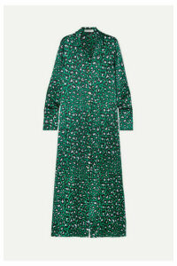 Olivia von Halle - Hero Leopard-print Silk-satin Maxi Dress - Emerald