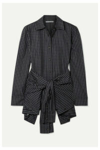 Alexander Wang - Layered Tie-front Checked Poplin Shirt - Black