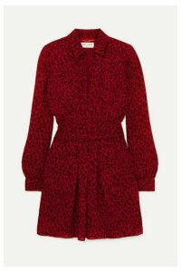 SAINT LAURENT - Leopard-print Crepe De Chine Mini Dress - Red