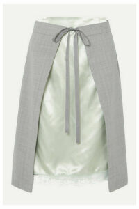 MM6 Maison Margiela - Layered Lace-trimmed Satin And Woven Skirt - Gray