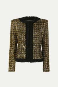 Balmain - Button And Sequin-embellished Metallic Tweed Blazer - Black