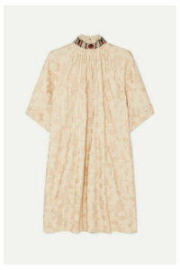 Chloé - Embellished Jacquard Mini Dress - Beige
