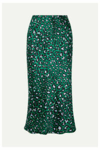 Olivia von Halle - Isla Leopard-print Silk-satin Midi Skirt - Emerald
