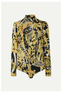 Versace - Printed Crepe Bodysuit - Yellow