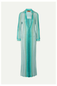 Missoni - Metallic Ribbed-knit Maxi Dress - Blue
