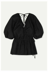 Cecilie Bahnsen - Aina Ruffled Cotton-poplin Wrap Blouse - Black