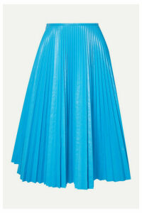 Cédric Charlier - Pleated Faux Leather Skirt - Light blue