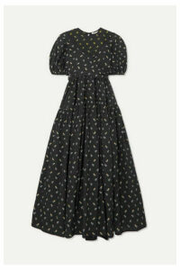 Cecilie Bahnsen - Anna Tie-detailed Tiered Fil Coupé Cotton-poplin Dress - Black