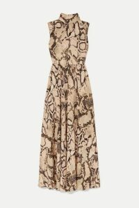 Solace London - Rhoda Snake-print Jersey Maxi Dress - Beige