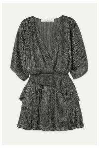 IRO - Spina Wrap-effect Ruffled Lamé Mini Dress - Silver