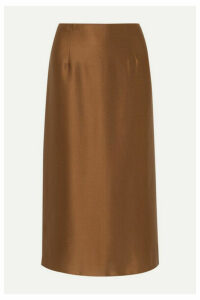 Vince - Silk-satin Midi Skirt - Brown