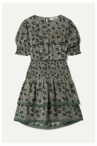 SEA - Lucia Shirred Floral-print Cotton-blend Voile Mini Dress - Gray green