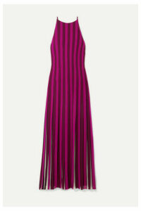 MICHAEL Michael Kors - Pleated Striped Crepe Maxi Dress - Magenta