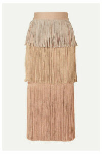Hervé Léger - Metallic Fringed Bandage Midi Skirt - Blush