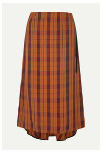 McQ Alexander McQueen - Fluted Velvet-trimmed Checked Woven Skirt - Orange