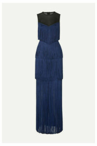 Hervé Léger - Tulle-paneled Fringed Bandage Gown - Midnight blue