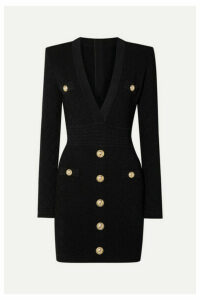 Balmain - Button-embellished Stretch Jacquard-knit Mini Dress - Black