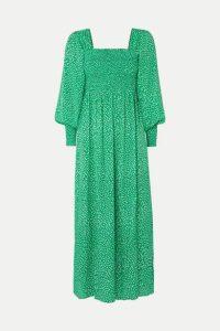 RIXO - Marianne Shirred Floral-print Crepe De Chine Midi Dress - Green