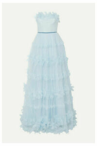 Marchesa Notte - Strapless Appliquéd Velvet-trimmed Tulle Gown - Light blue