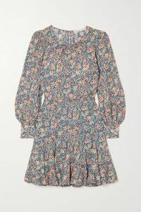 McQ Alexander McQueen - Fluted Velvet-trimmed Checked Woven Dress - Navy