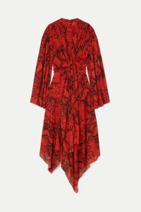 Solace London - Nelli Asymmetric Snake-print Chiffon Dress - Snake print