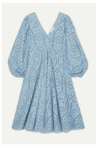 GANNI - Broderie Anglaise Cotton Midi Dress - Light blue