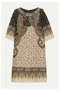 Etro - Printed Silk-blend Cloqué Midi Dress - Beige